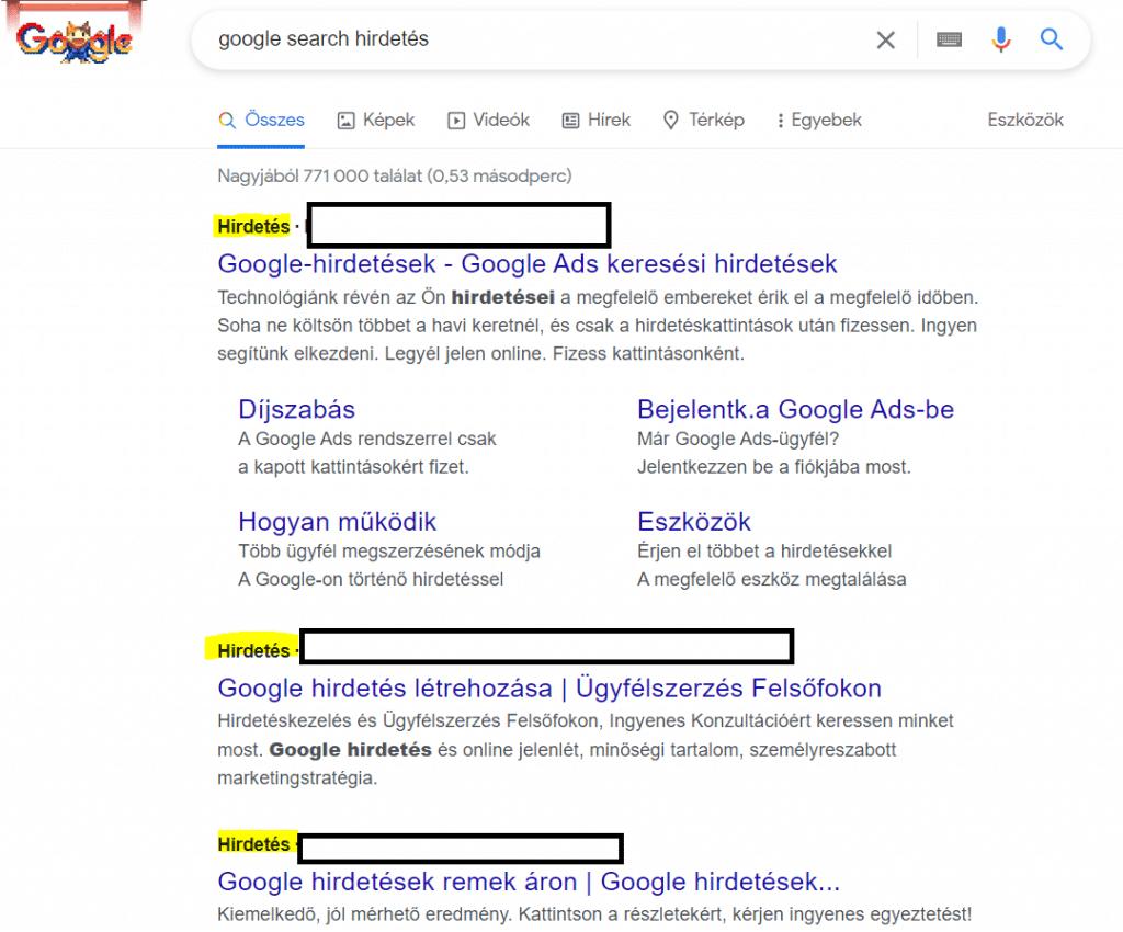 Google Search hirdetés
