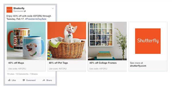 Facebook carousel hirdetés